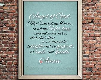 Guardian angel prayer... Typography Art, 5x7, 8x10