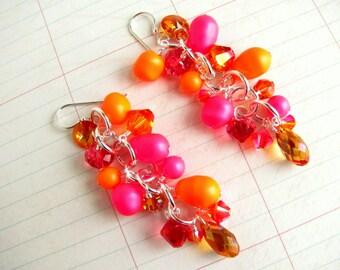 Neon Pink Earrings, Pink Earrings, Swarovski Earrings, Pearl Earrings, Orange Earrings, Summer Earrings, Statement Earrings, Dangle Earrings
