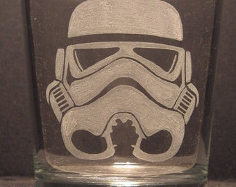 "Star Wars Storm Trooper helmet inspired whiskey glass Engraved/Etched Glass ""PICK YOUR STYLE"""