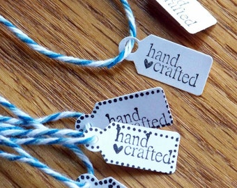 tags, handmade item tag, handmade seller tag -  set of 12