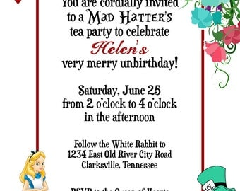 Classic Disney Alice in Wonderland Playing Card Custom Birthday / Sweet Sixteen Invitation - Digital File, You Print OR I Print