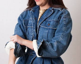80s BENETTON Denim Bomber Jacket, United Colors, Blue Jean Oversize Coat, Vintage 1980s Italy, Lined Belted, size Medium