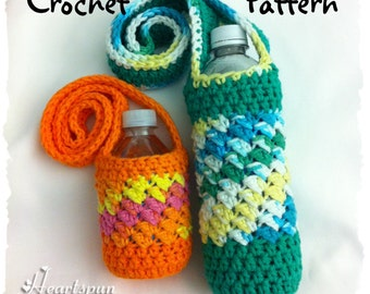 CROCHET PATTERN for a Sideways Shell Water Bottle Holder / Carrier in 2 sizes, Full size and Mini Size.  Instant download, PDF Format