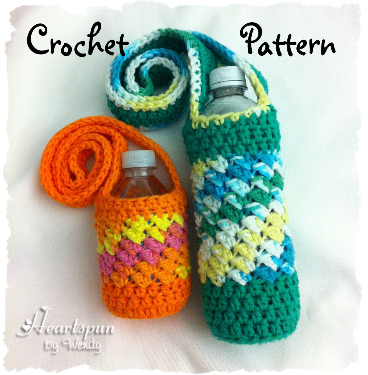 Free Crochet Pattern Water Bottle Holder : CROCHET PATTERN to make a Sideways Shell Water Bottle Holder