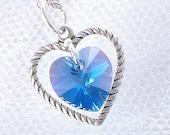 Sapphire Swarovski Crystal Heart Necklace - September Birthstone - Silver Heart Charm - Love - Spring - Summer - Gifts Under 15