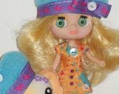 Petite Blythe Hat / Littlest Pet Shop Blythe Dolls' Hat With Matching Pet Hat / LPS Blythe Pinwheels & Daisies