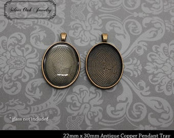 SOJ-054: Set of 20 - 22mm x 30mm Oval Antique Copper Pendant Trays - 22 mm, 30mm, steam punk, necklace supplies, bezel, tray, antique copper