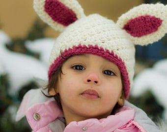 Bunny Beanie CROCHET PATTERN instant download - rabbit hat