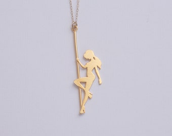 Pole Dancer Gold Necklace , Strip Dancer Silhouette , Gift for Bachelorette Party