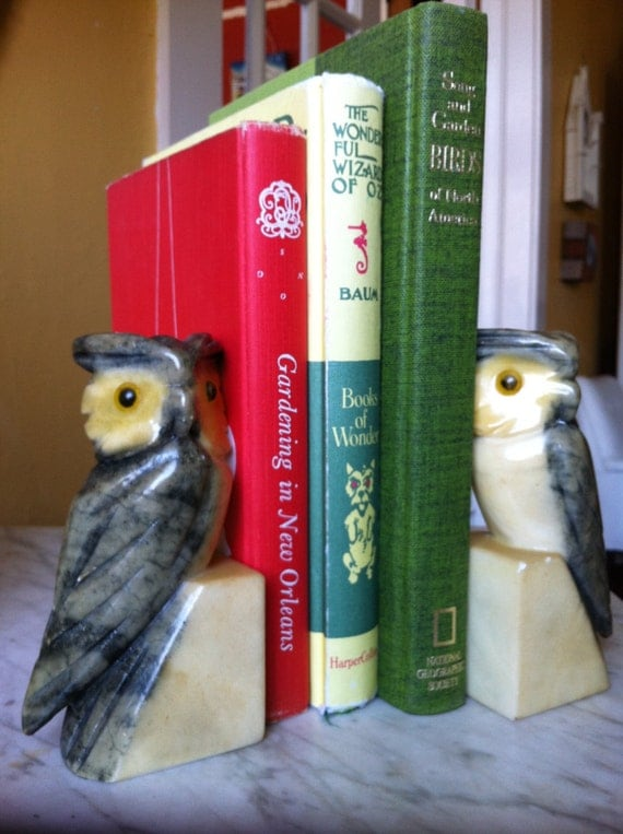 Italian Pair of Alabaster Owl Bookends Handmade, Handcarved in Volterra, Italy in Yellow and Grey Gray. From CrescentThriftshop on Etsy.