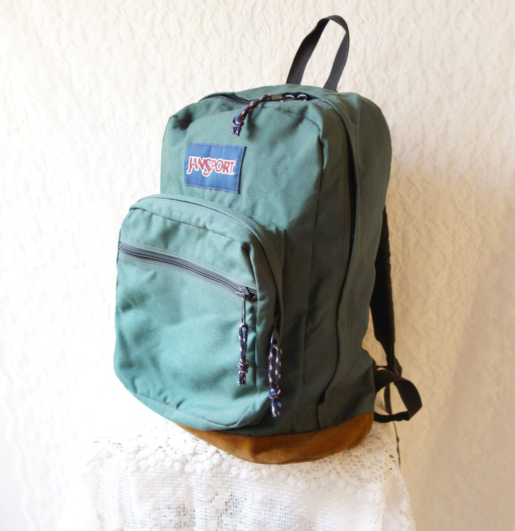 CLASSIC OLD SCHOOL Jansport Green Canvas Suede Leather Bookbag