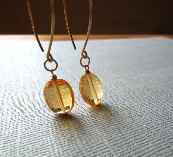SALE Citrine Earrings, Single Drop, Gold-filled, November Birthstone