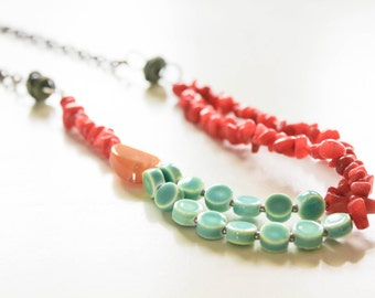 Spicy Summer Necklace - Orange & Aqua double strand beaded necklace for women, unique desigs, copper, patina, jasper, glass, ceramic
