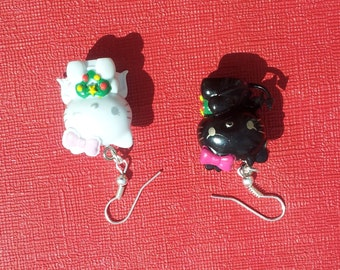 Devil & Angel on your shoulder Cute Cat Kitten Charm Earrings Gothic Rockabilly Emo Punk
