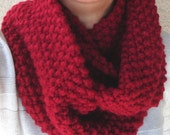 Unisex Chunky Cranberry Red color Infinity Scarf, Cowl, and Neck Warmer