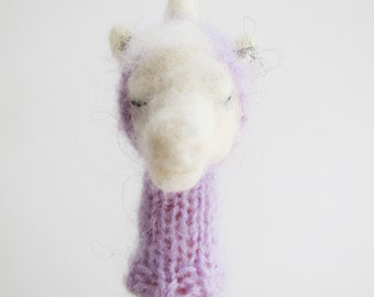 UNICORN FINGER PUPPET Decorative Soft Toy - needlefelted from wool with a knitted lavender hoody, children, kids, baby