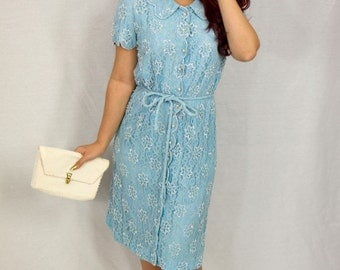 1950s Vintage beaded light blue lace dress