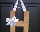 Chevron & Jute Monogram Wreath Door Hanging