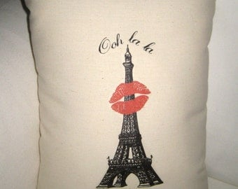 Eiffel Tower Kiss Pillow, Valentine's or Wedding Gift, French Shabby Chic Cushion, Paris Inspired Romantic Home Decor, Lips, Lipstick