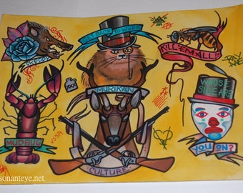 Murican culture: hand-painted tattoo flash, 11x14, tattoo art, mudbug, crawdad, sketti, guns, merica