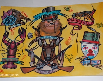 Murican culture: hand-painted tattoo flash, 11x14, tattoo art, mudbug, crawdad, sketti, guns, merica