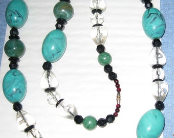SALE!  Vintage Large Bulky Necklace Turquoise Color Beads and Clear  Beads