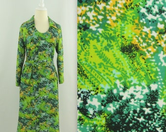 Botanical Garden Dress - Vintage 1960s Mod A-Line Shift Dress in Emerald Green - Small by Leo Danal