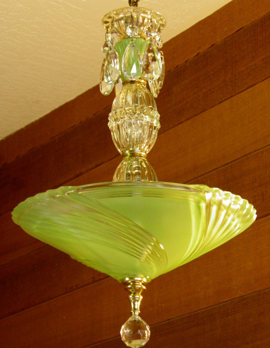 Vintage Chandelier Jadite Art Deco Chandelier Antique Ceiling
