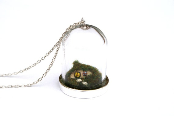 Miniature Hobbit House Necklace - Tolkien - miniature hobbit or fairy house with a yellow door inside a glass jar, on a 16 inch chain.