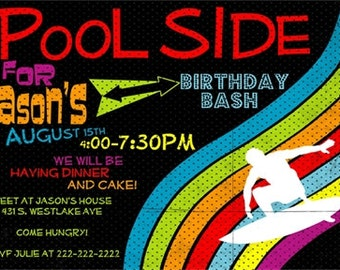 Birthday invitation Surf or pool style (digital file only)