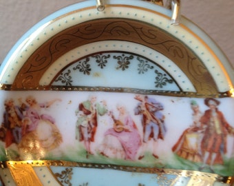 Small j k decor carlsbad germany de corative plate with gold leaf