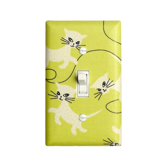 Kitty Cat Light Switch Plate Cover / Girls Room / Baby Nursery / Kids Room / Anna Griffin Fifi and Fido Cats / Lime Green