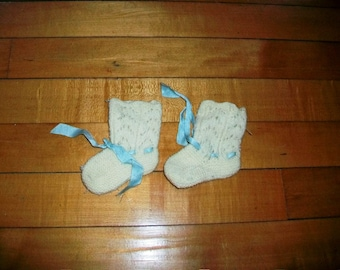 Vintage Crocheted Baby Booties 1950s Cream and Blue