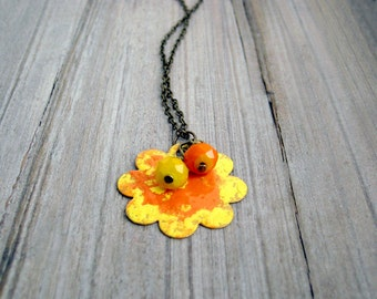 Sunny Flower Necklace / Orange and Yellow Necklace / Flower Pendant / Brass Flower