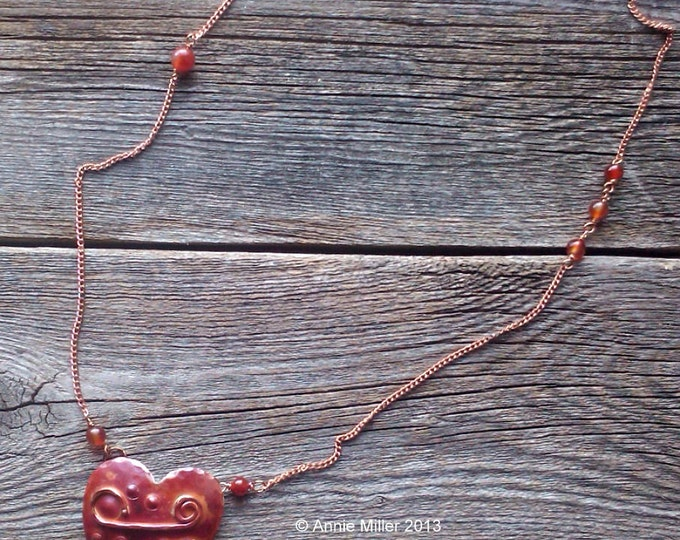 Be My Valentine, Copper Heart Pendant Necklace