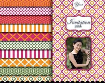 Pink digital paper green frame clip art frame in Fuschia Orange green paper pink quatrefoil photo frame clip art : p0207 3p061638C IP