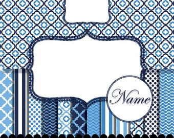 Navy Blue digital paper frame clip art, boy nautical navy blue stripe invitation frame, white polka paper frame : p0207 3s232426 IP