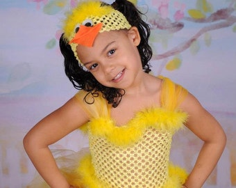 Toddler Easter Dress - Duck Headband - Duck Costume - Photo Prop - Duck Costume - Rubber Duck - Spring tutu - Spring dress for Toddler