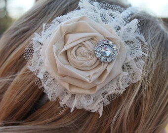 Bridal ivory rosette lace headband. Metal wrapped headband. fits women and children. fascinator