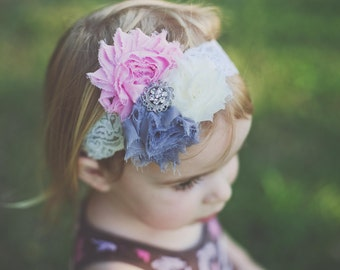Shabby Roses, Pink, Grey and Ivory Cream, Vintage Style Lace Stretchy Soft Headband, Wide Lacey Headband Newborn Infant Toddler Girls,