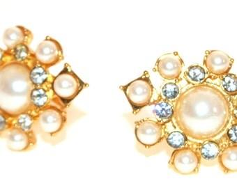 Carlisle - Earrings - Estate Costume Jewelry - Pearl Rhinestone - 90's Enron Style