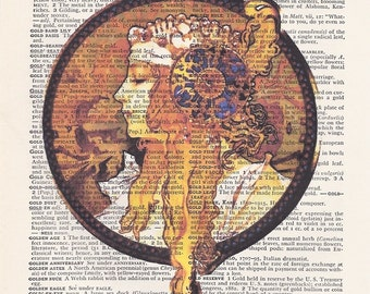 Alphonse Mucha Print - Dictionary Art Print - Upcycled Vintage Paper - 7-1/4 x 10-1/2