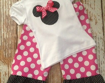 Minnie Mouse Inspired Ruffle Pants OR Capri Outfit - Baby Girl/ Toddler Girl - Sizes 12M thru 4T - Minnie Mouse Birthday, Disney Vacation