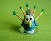 Peacock Polymer Clay Miniature Figurine Ooak Zoo Animal Bird Cute Silly Little Gift Blue