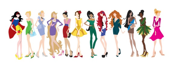 Items Similar To Princess Inspired Fashion Illustration 8 By 20 Poster Disney On Etsy