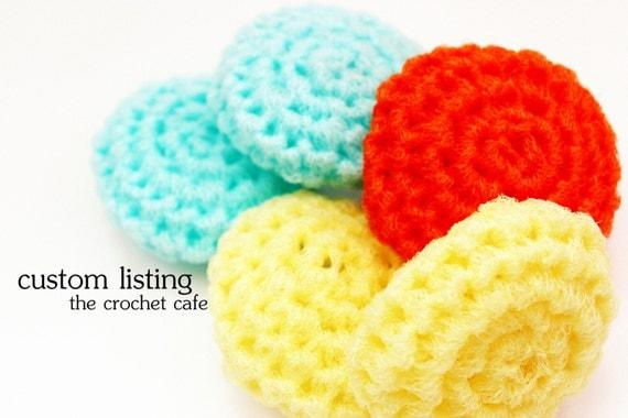 Custom Listing for Dawn: Tropical Colada Set of Six Crochet Nylon Netting Eco-Friendly Reusable Kitchen Dish Scrubbies