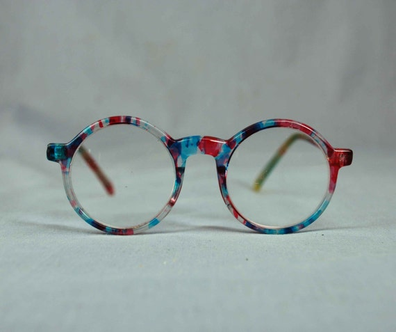 80s oversized reading glasses in blue and purple clear