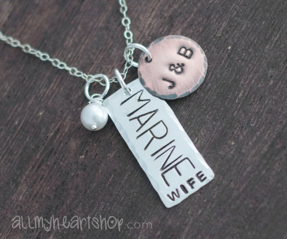 Marine Wife Necklace - Hand Stamped Sterling Silver and Copper Necklace