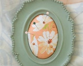 Pincushion / Picture Frame Pincushion / Mint and Peach / Up-Cycled / Shabby Chic