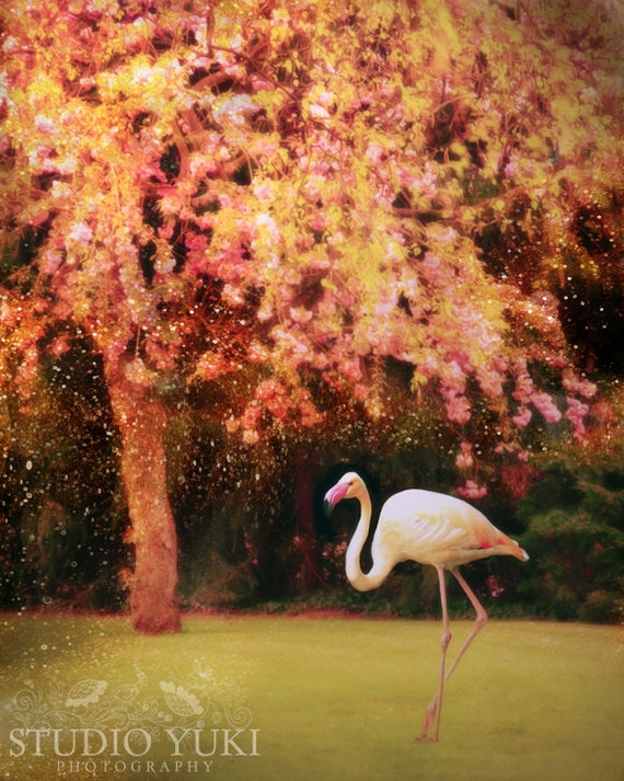 Flamingo Photograph, Tree, Enchanted Forest, Dreamy, Fairytale, Green, Pink, Glowing - The Queens Croquet-Ground